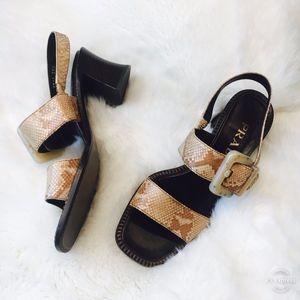 Prada Block Heel Snakeskin Sandals